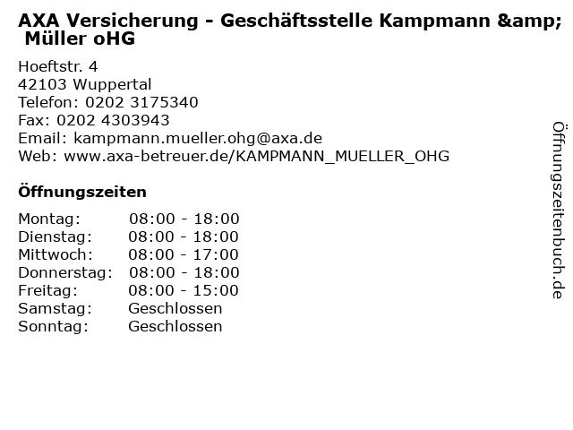AXA Versicherung - Geschäftsstelle Kampmann & Müller oHG in Wuppertal: Adresse und Öffnungszeiten