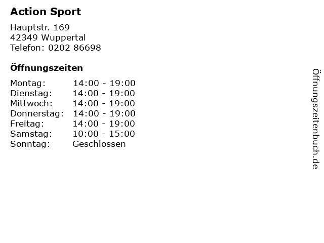 Action Sport in Wuppertal: Adresse und Öffnungszeiten