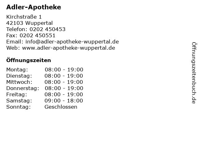 Adler-Apotheke in Wuppertal: Adresse und Öffnungszeiten