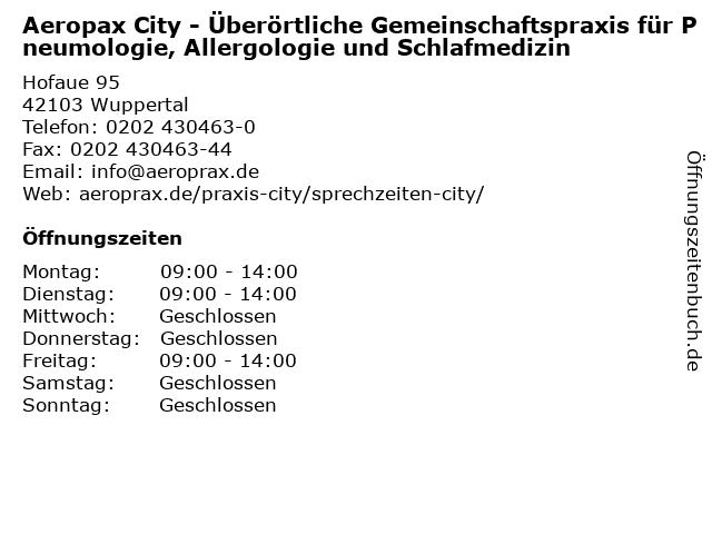 Aeropax City - Überörtliche Gemeinschaftspraxis für Pneumologie, Allergologie und Schlafmedizin in Wuppertal: Adresse und Öffnungszeiten