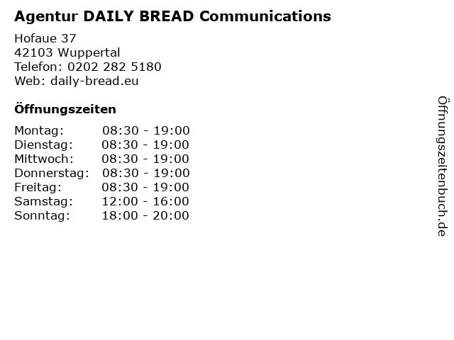 Agentur DAILY BREAD Communications in Wuppertal: Adresse und Öffnungszeiten
