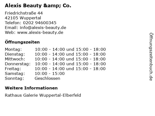 Alexis Beauty & Co. in Wuppertal: Adresse und Öffnungszeiten
