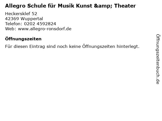 Allegro Schule für Musik Kunst & Theater in Wuppertal: Adresse und Öffnungszeiten