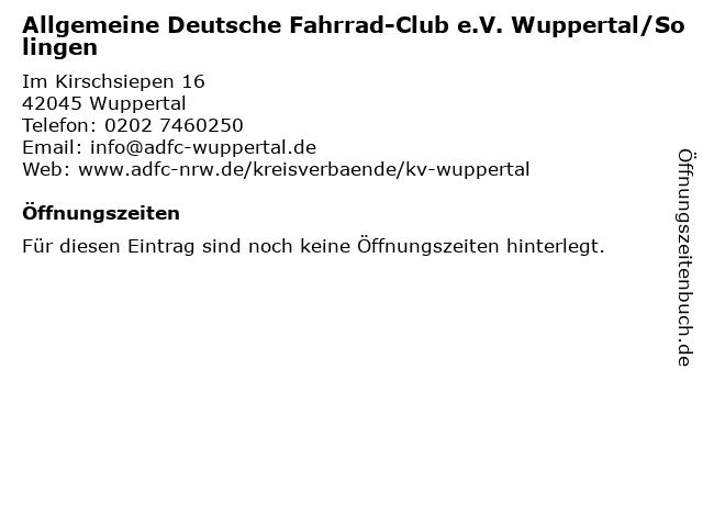 Allgemeine Deutsche Fahrrad-Club e.V. Wuppertal/Solingen in Wuppertal: Adresse und Öffnungszeiten