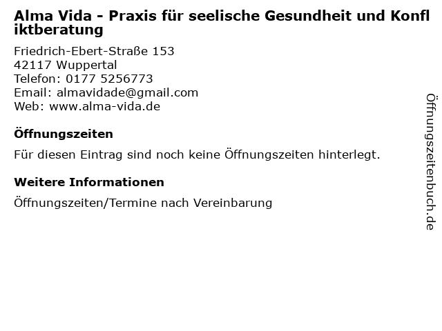 Alma Vida - Praxis für seelische Gesundheit und Konfliktberatung in Wuppertal: Adresse und Öffnungszeiten
