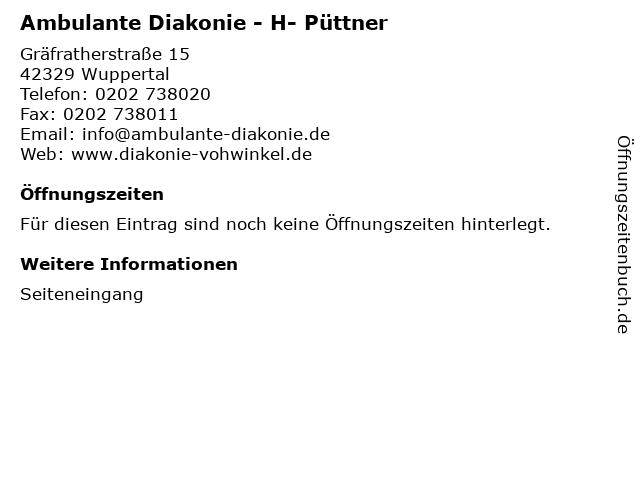 Ambulante Diakonie - H- Püttner in Wuppertal: Adresse und Öffnungszeiten