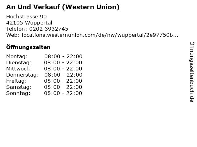 ᐅ öffnungszeiten An Und Verkauf Western Union Hochstrasse 90