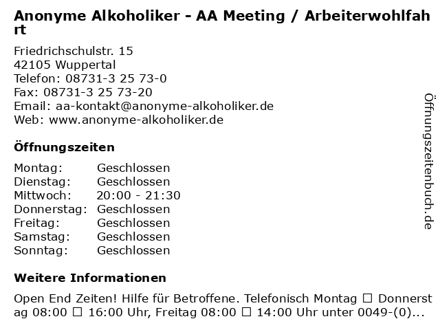 Anonyme Alkoholiker - AA Meeting / Arbeiterwohlfahrt in Wuppertal: Adresse und Öffnungszeiten
