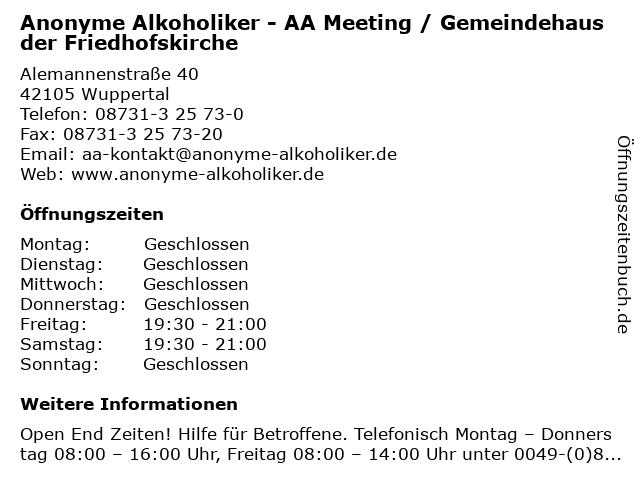 Anonyme Alkoholiker - AA Meeting / Gemeindehaus der Friedhofskirche in Wuppertal: Adresse und Öffnungszeiten