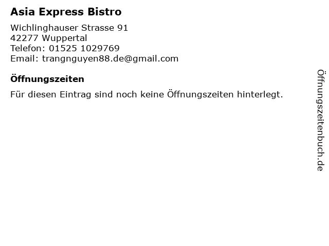 Asia Express Bistro in Wuppertal: Adresse und Öffnungszeiten