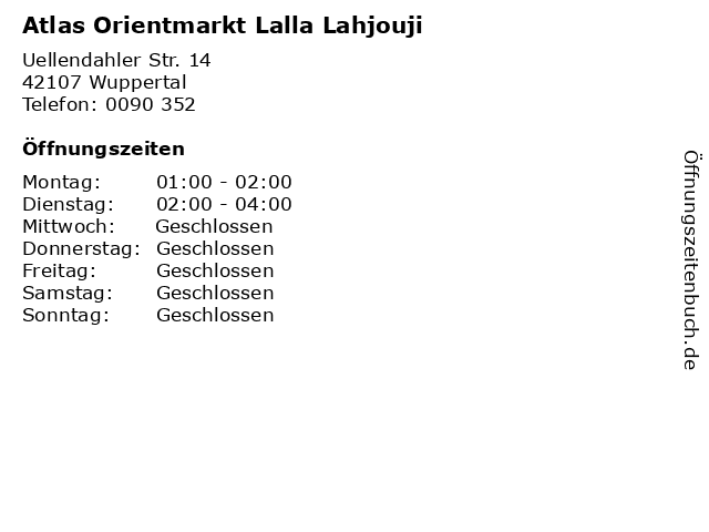 Atlas Orientmarkt Lalla Lahjouji in Wuppertal: Adresse und Öffnungszeiten