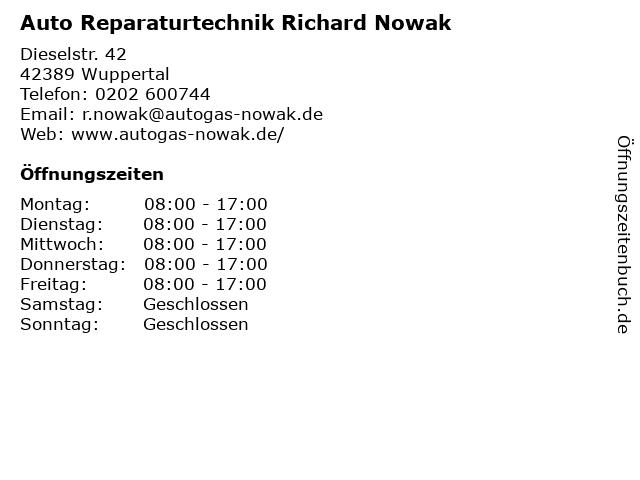 Auto Reparaturtechnik Richard Nowak in Wuppertal: Adresse und Öffnungszeiten