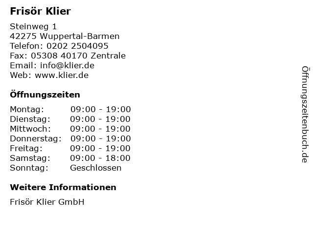 Frisör Klier in Wuppertal-Barmen: Adresse und Öffnungszeiten