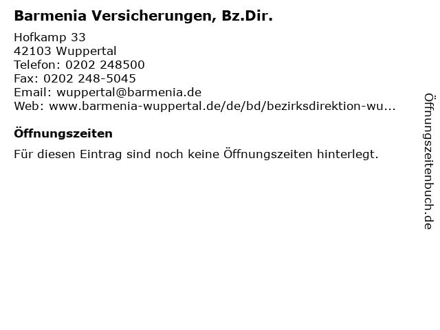 Barmenia Versicherungen, Bz.Dir. in Wuppertal: Adresse und Öffnungszeiten