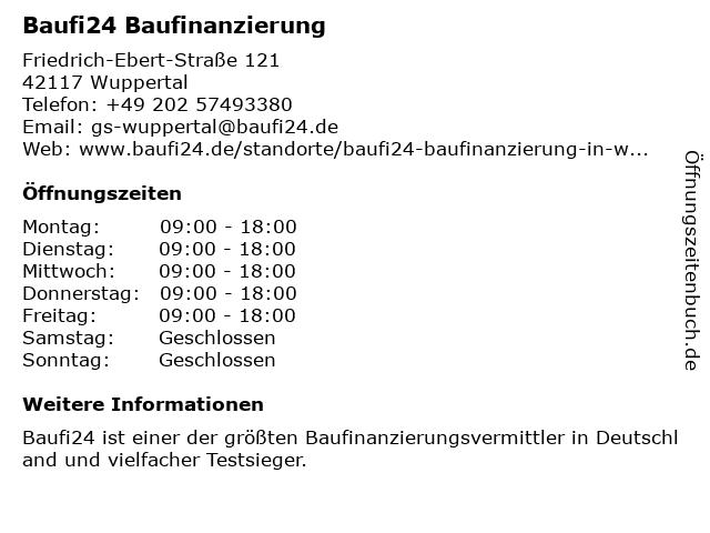 Baufi24 Baufinanzierung in Wuppertal: Adresse und Öffnungszeiten