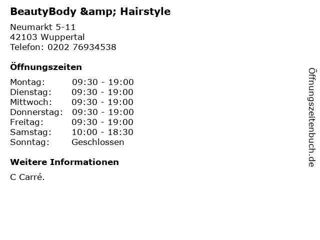 BeautyBody & Hairstyle in Wuppertal: Adresse und Öffnungszeiten