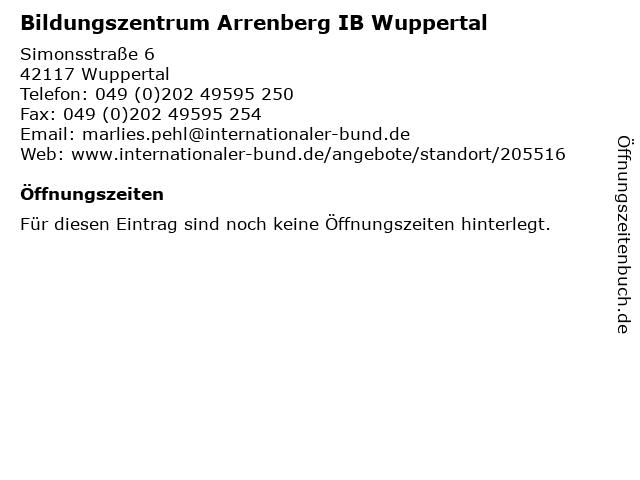Bildungszentrum Arrenberg IB Wuppertal in Wuppertal: Adresse und Öffnungszeiten