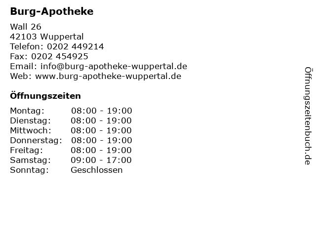 Burg-Apotheke in Wuppertal: Adresse und Öffnungszeiten