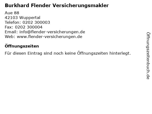 Burkhard Flender Versicherungsmakler in Wuppertal: Adresse und Öffnungszeiten