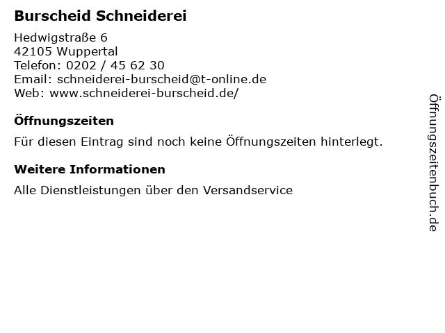 Burscheid Schneiderei in Wuppertal: Adresse und Öffnungszeiten