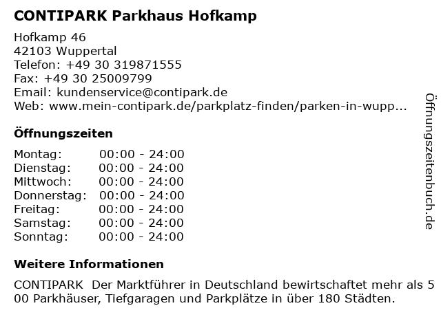 CONTIPARK Parkhaus Hofkamp in Wuppertal: Adresse und Öffnungszeiten