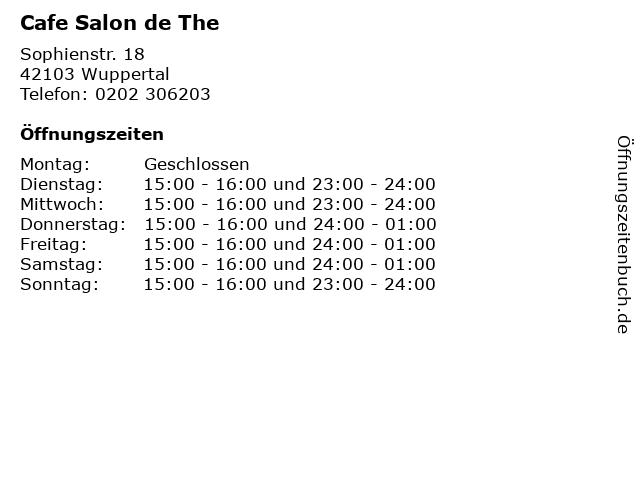 Cafe Salon de The in Wuppertal: Adresse und Öffnungszeiten