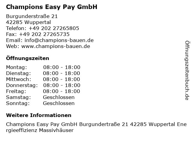 Champions Easy Pay GmbH in Wuppertal: Adresse und Öffnungszeiten