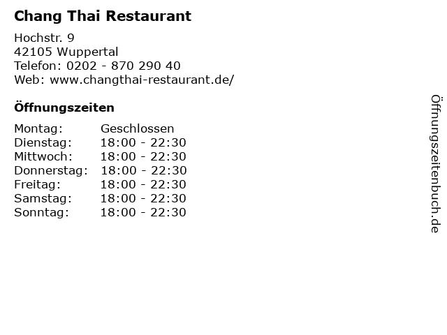 Chang Thai Restaurant in Wuppertal: Adresse und Öffnungszeiten