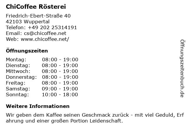 Chi Coffee Rösterei in Wuppertal: Adresse und Öffnungszeiten