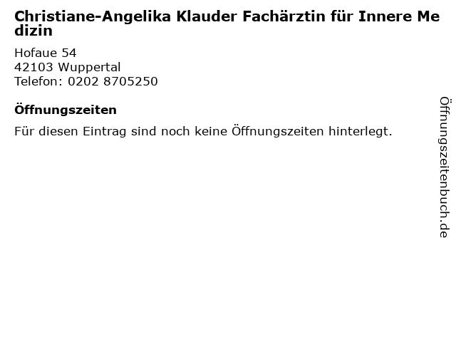 Christiane-Angelika Klauder Fachärztin für Innere Medizin in Wuppertal: Adresse und Öffnungszeiten