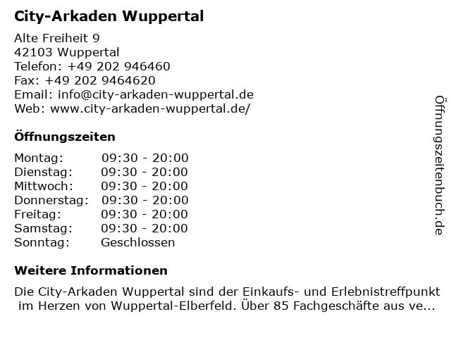 City-Arkaden Wuppertal in Wuppertal: Adresse und Öffnungszeiten