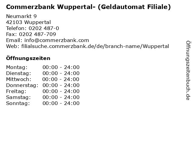 Commerzbank Wuppertal- (Geldautomat Filiale) in Wuppertal: Adresse und Öffnungszeiten