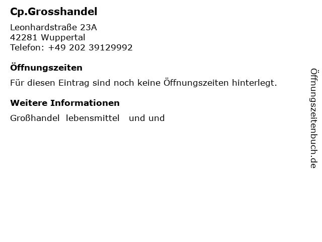 Cp.Grosshandel in Wuppertal: Adresse und Öffnungszeiten