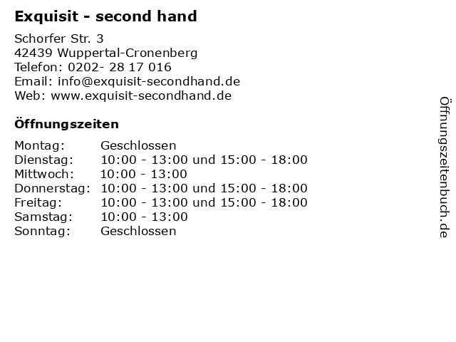 Exquisit - second hand in Wuppertal-Cronenberg: Adresse und Öffnungszeiten