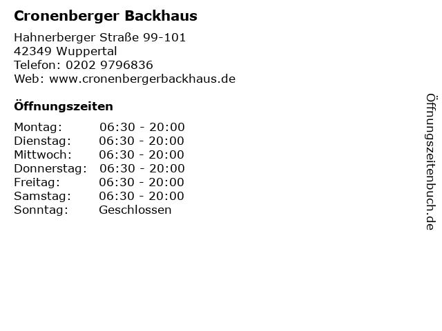 Cronenberger Backhaus in Wuppertal: Adresse und Öffnungszeiten