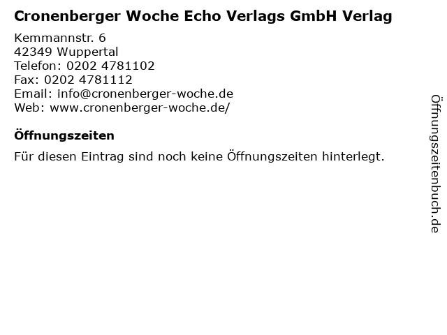 Cronenberger Woche Echo Verlags GmbH Verlag in Wuppertal: Adresse und Öffnungszeiten