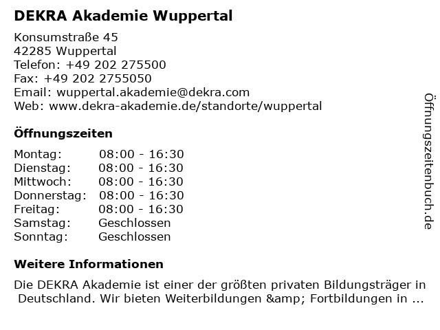 DEKRA Akademie Wuppertal in Wuppertal: Adresse und Öffnungszeiten