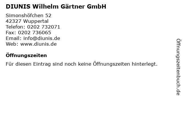 DIUNIS Wilhelm Gärtner GmbH in Wuppertal: Adresse und Öffnungszeiten