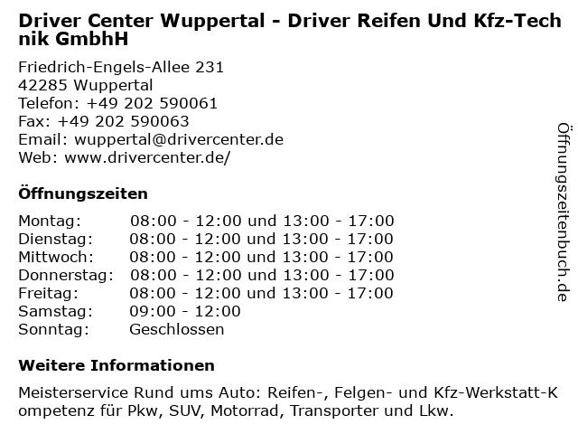 DRIVER CENTER WUPPERTAL - DRIVER REIFEN UND KFZ-TECHNIK GMBH in Wuppertal: Adresse und Öffnungszeiten