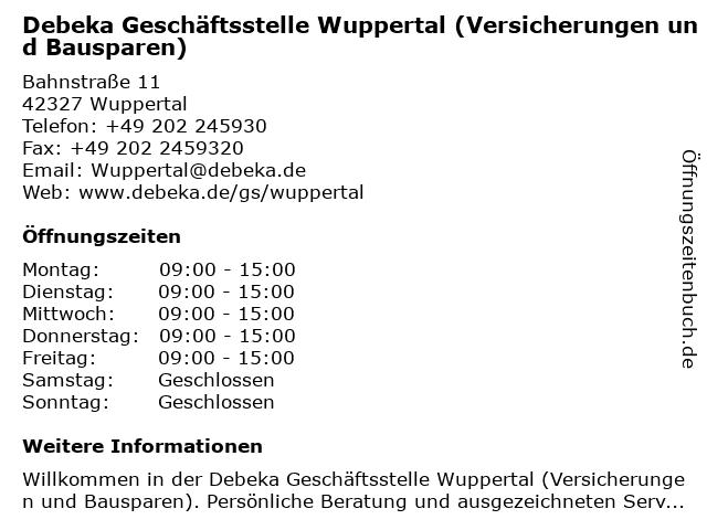 Debeka Geschäftsstelle Wuppertal (Versicherungen und Bausparen) in Wuppertal: Adresse und Öffnungszeiten