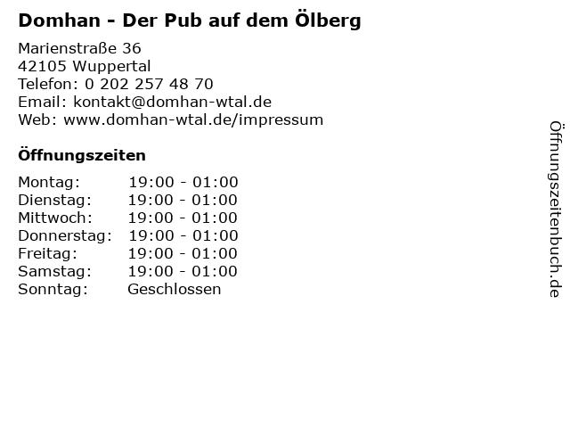 Domhan in Wuppertal: Adresse und Öffnungszeiten