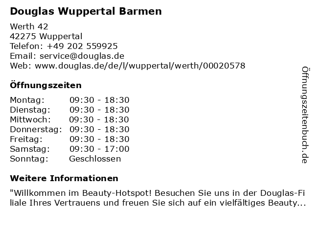 Douglas Wuppertal Barmen in Wuppertal: Adresse und Öffnungszeiten