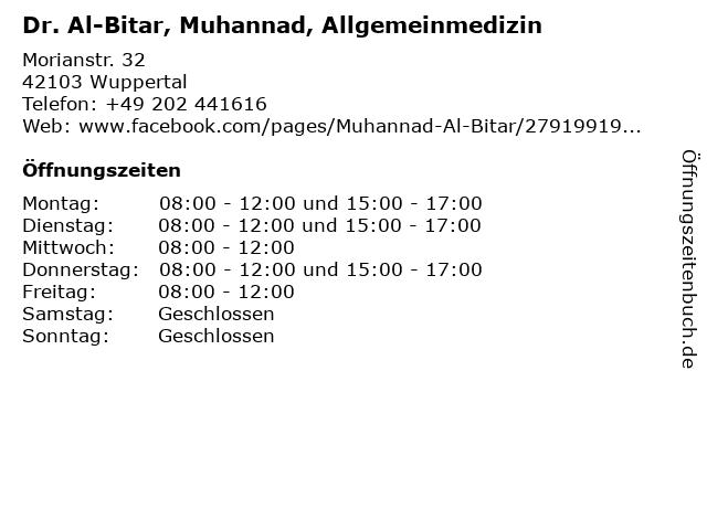 Dr. Al-Bitar, Muhannad, Allgemeinmedizin in Wuppertal: Adresse und Öffnungszeiten
