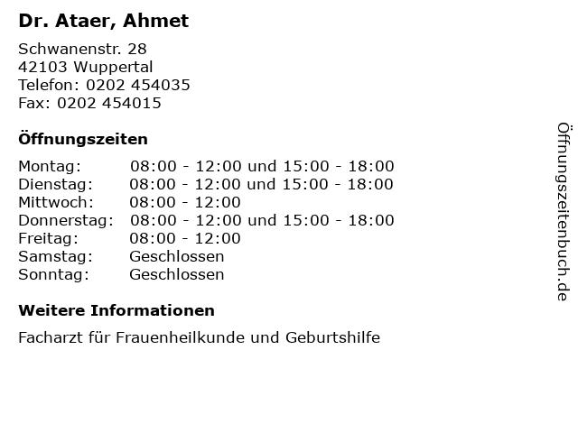 Dr. Ataer, Ahmet in Wuppertal: Adresse und Öffnungszeiten