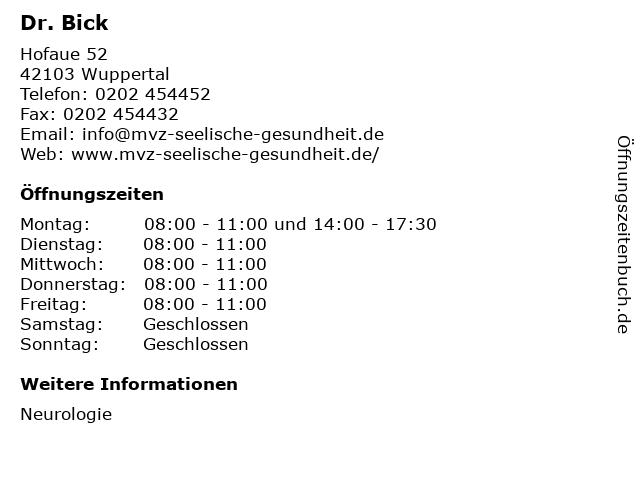 Dr. Bick in Wuppertal: Adresse und Öffnungszeiten