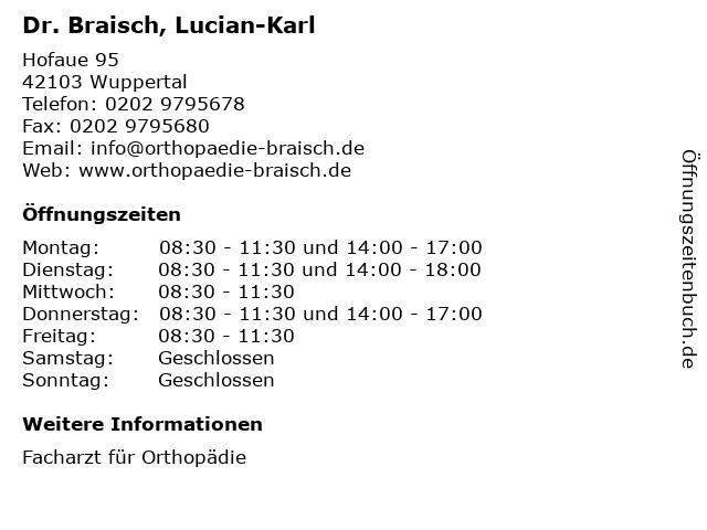 Dr. Braisch, Lucian-Karl in Wuppertal: Adresse und Öffnungszeiten