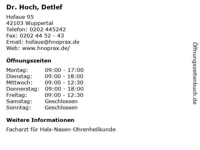 Dr. Hoch, Detlef in Wuppertal: Adresse und Öffnungszeiten