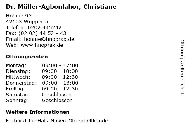 Dr. Müller-Agbonlahor, Christiane in Wuppertal: Adresse und Öffnungszeiten