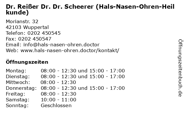 Dr. Reißer Dr. Dr. Scheerer (Hals-Nasen-Ohren-Heilkunde) in Wuppertal: Adresse und Öffnungszeiten