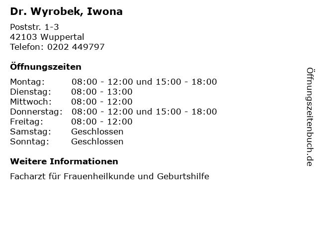 Dr. Wyrobek, Iwona in Wuppertal: Adresse und Öffnungszeiten